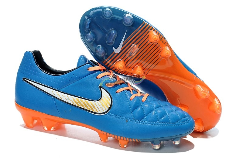 Nike Tiempo Legend V FG Bleu Orange Nouveau Chaud