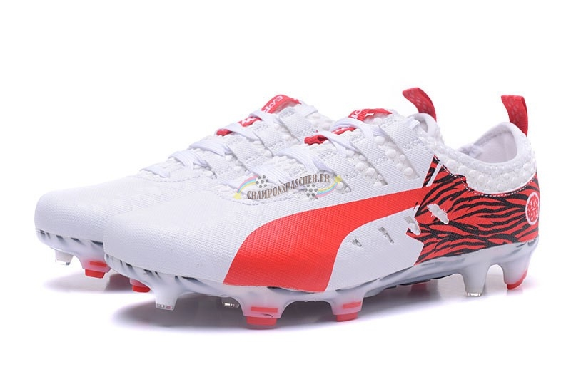 the latest 26ae9 f2c4e Puma evoPOWER Vigor 1 FG Blanc Rouge Nouveau Chaud