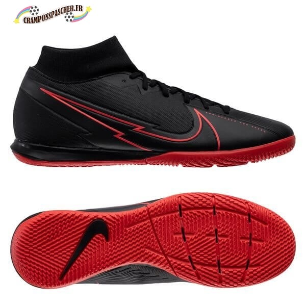 Nike Mercurial Superfly 7 Academy IC Noir Rouge Nouveau Chaud