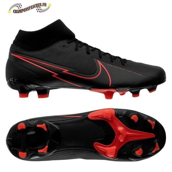 Nike Mercurial Superfly 7 Academy MG Noir Rouge Nouveau Chaud