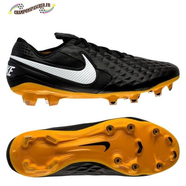 Nike Tiempo Legend 8 Elite Femme FG Leather Tech Craft Noir Blanc Or Nouveau Chaud